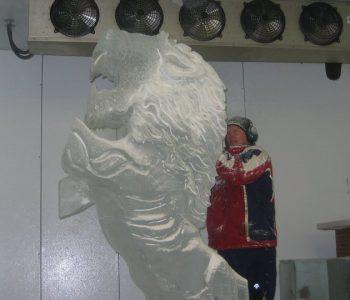 creating ice lion art
